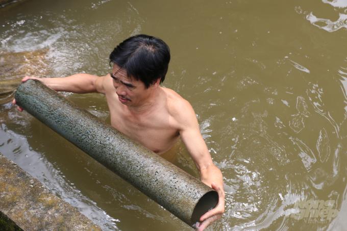 Những ống nước được thả xuống làm hang cho cá ở.